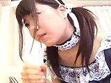 Japanese teen gives handjob