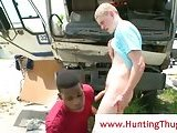 Yummy black ass gets ridded by a white rod