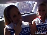 Two teen cheerleaders in threesome