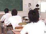 Horny teacher masturbates in the college