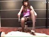 Cutie in pantyhose giving footjob