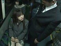 Naughty schoolgirl on public train
