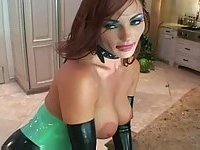 Hungry kitty in latex