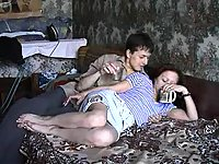 Brunette mom pleased by lad juicy dong