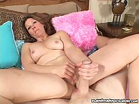Horny milf plays with hard cock