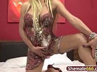 Nasty blonde shemale jerking off hard