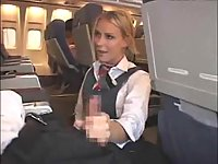 Blond girl gives head in a plane