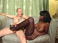 Busty black bitch fucked by white pole