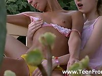 Sweet lesbos making love outdoors