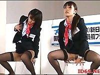 Japanese sluts in uniforms masturbate