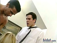 Morgan double penetrated in office