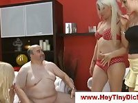 Sexy babes laugh at fat guy little dick