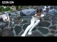 Big boobs milf cheating fucked in hot spring