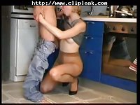 Russian mom fucks in the kitchen