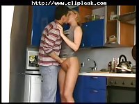 Russian mom fucks in the kitchen