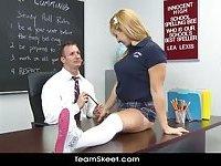 Blonde babe Lea Lexis classroom sex