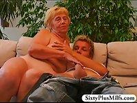 Teen boy fuckes a busty granny