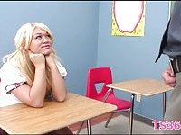 Dirty school detention for blond e