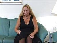 Chubby Blonde Mature Strips And Masturbates