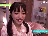 Japanese gal gets her small tits cummed