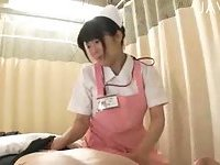 Busty Japanese nurse riding guy cock