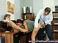 Euro clothed threesome office