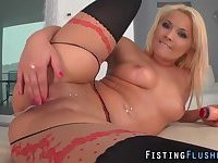 Stockings hoe fists pussy