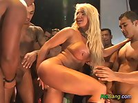 Brazilian stepmom in party gangbang