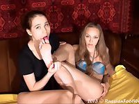 Russian brunette foot worshipping blonde