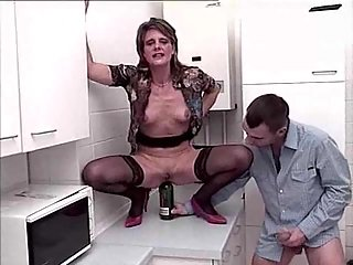 Wife Gets Ass Stretched With Utensils Before Banging
