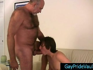 Old gay getting his dick sucked by twink