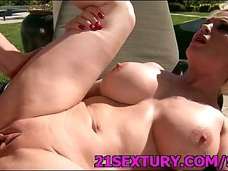 Slutty hot blonde banged outside