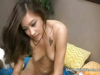 Pierced girl playing with a hard cock