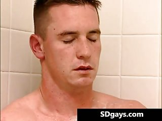 Zack jerking his jizzster under the shower