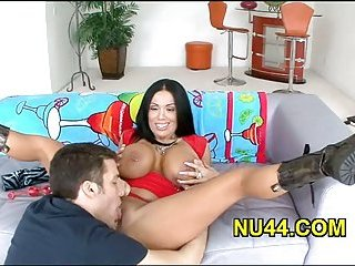 Busty girl sucks big dick