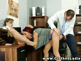 Dirty sluts get banged over the table by their horny stud