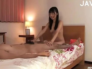 Jap girl in stockings riding cock