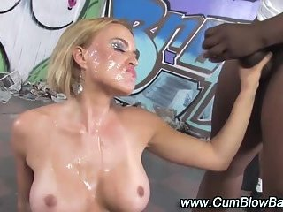 Gang bang blonde gets facials | Big Boobs Update
