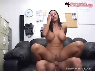 Older office slut fucks hard in the office | Big Boobs Update
