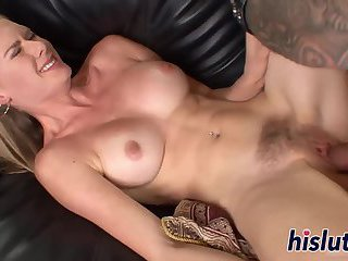 Her hairy pussy gets fingered and drilled